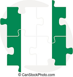 Nigerian Flag in puzzle isolated on white background -...