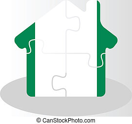 house home icon with Nigerian flag in puzzle isolated on...