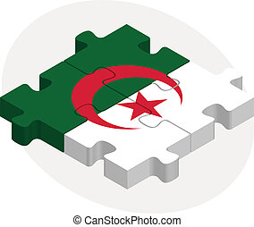 Algerian Flag in puzzle isolated on white background -...