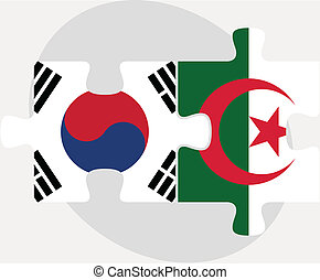 South Korean and Algerian Flags in puzzle isolated on white...