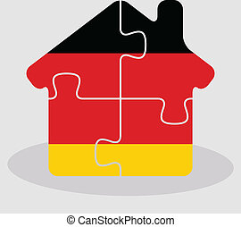 house home icon with German flag in puzzle - Vector...