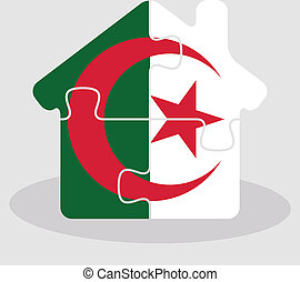 house home icon with Algerian flag in puzzle isolated on...