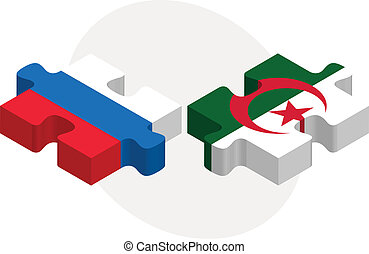 Russian and Algerian Flags in puzzle isolated on white...