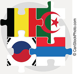 Belgian, Algerian, Russian and South Korean Flags in puzzle...