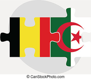 Belgian and Algerian Flags in puzzle isolated on white...