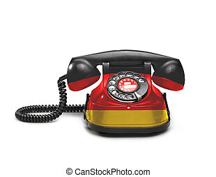 Office: old and vintage telephone with the Germany flag -...