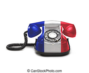 Office: old and vintage telephone with the French flag -...