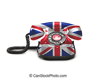 Office: old and vintage telephone with the union jack flag...