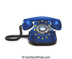 Office: old and vintage telephone with the Europe flag -...