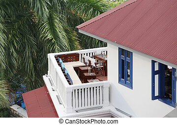 Aerial view of a beautiful balcony in a house