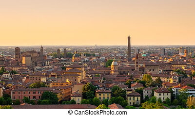 bologna skyline sunset to night zoo - panoramic view of...
