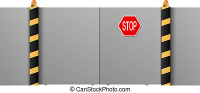 "Metal gate with a ""stop"" on a white background. Vector illustrat"