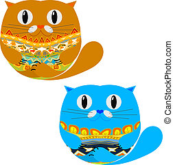 Two Cute Cat. Vector illustration