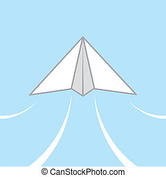 Paper Airplane Glide - Paper airplane gliding through the...