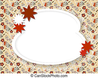 Oval frame for text with red flowers on the mosaic background