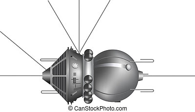 """The first spaceship """"Vostok"""". Vector illustration"""