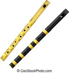 Two flutes on a white background. Vector illustration