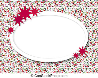 Oval frame for text with flowers on the mosaic background