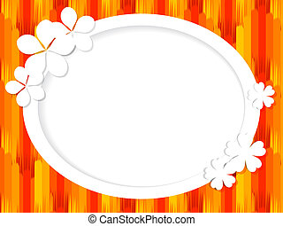 Oval frame for text with white flowers on the red background