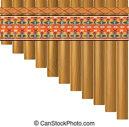 Realistic portrayal of the pan flute with traditional Indian...