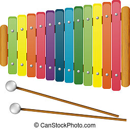 Children's Musical Instruments - toy - xylophone on white...
