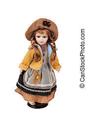 Beautiful large plastic doll with a lace dress Isolated on...