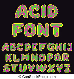 psychodelic alphabet for design - vector illustration of...