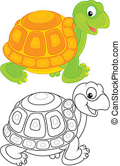 Turtle - Funny green and yellow tortoise walking, color and...