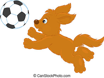 Pup playing - Funny brown puppy playing football, vector...