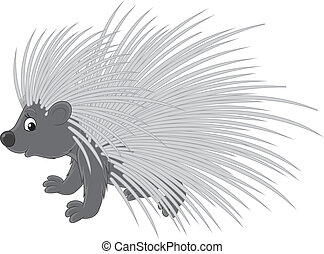 Porcupine, vector clip-art on a white background