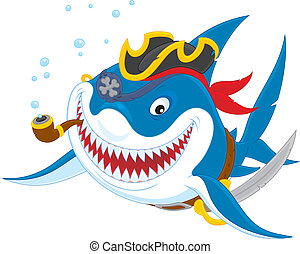 Shark pirate - Great white shark with a pirate saber, hat...