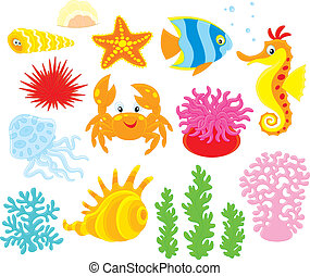 Sea animals - Set of cartoony sea animals, corals and algae,...