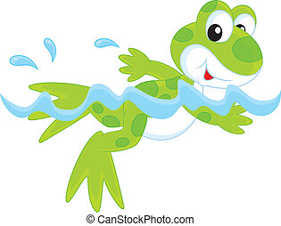 Frog - Funny green frogling swimming in water
