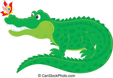 Crocodile and butterfly - Big green alligator with a small...