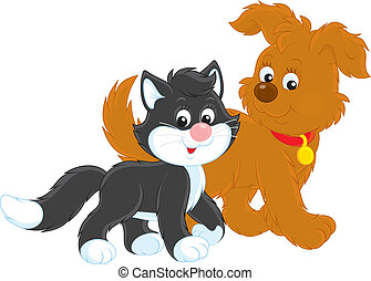 Dog and cat - Funny brown pup walking with a black and white...