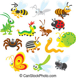 Insects - Collections of insects on a white background with...