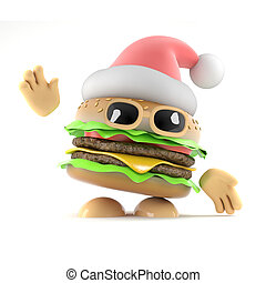 3d Santa burger - 3d render of a beefburger dressed as Santa...