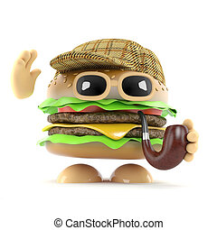 3d Sherlock burger - 3d render of a beefburger dressed as...
