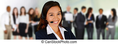 Customer Service - Young woman giving help as a customer...