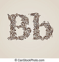 Decorated letter b - Handsomely decorated letter b in upper...