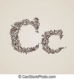 Decorated letter c - Handsomely decorated letter c in upper...