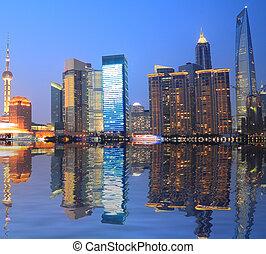 Shanghai Bund skyline at night