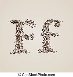 Decorated letter f - Handsomely decorated letter f in upper...