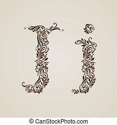 Decorated letter j - Handsomely decorated letter j in upper...