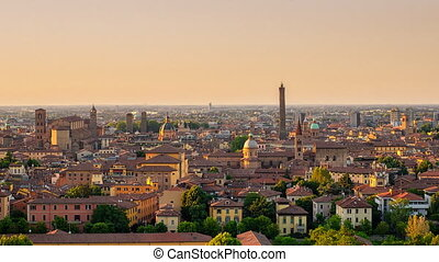 bologna panorama day to night timel - panoramic view of...