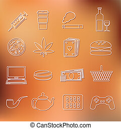 addiction outline icons