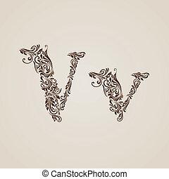 Decorated letter v - Handsomely decorated letter v in upper...