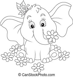 Little elephant with flowers - Baby elephant sitting among...