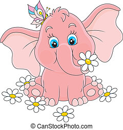 Little elephant with flowers - Pink baby elephant sitting...