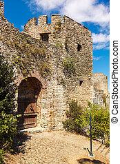Rumelihisari fortress - old wooden gate Rumelihisari...